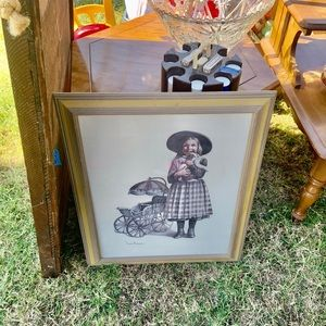 Vintage Accents - joanne thompson paintings girl & boy framed decor